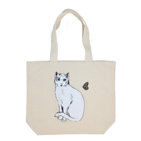 A-Chat Blanc Canvas Tote Bag