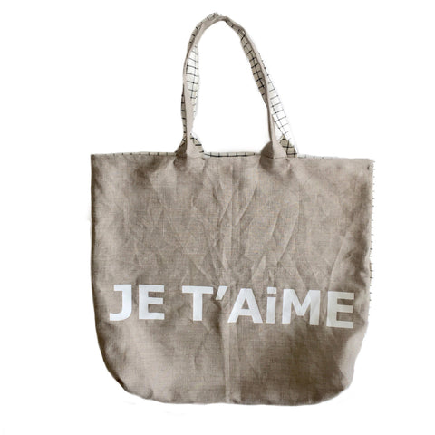 Je T'aime Linen Bag in Checkered