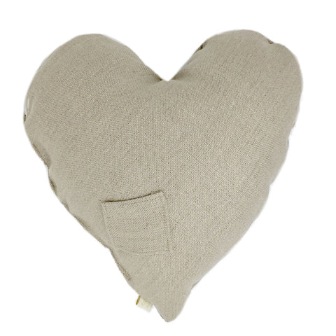 PiLLOW - HEART LiNEN PiLLOW - CHAT BLANC in COCONUT