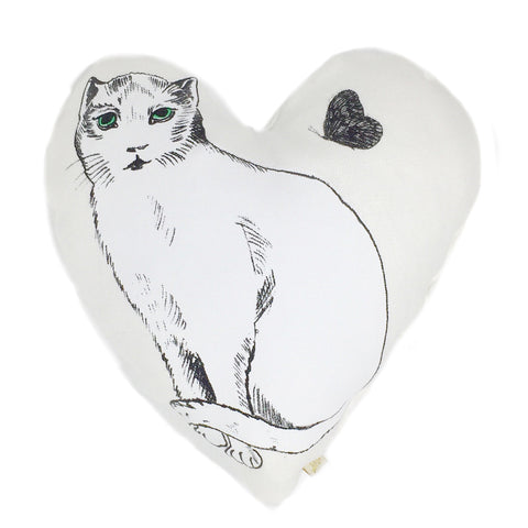PiLLOW - HEART LiNEN PiLLOW - CHAT BLANC in WHiTE