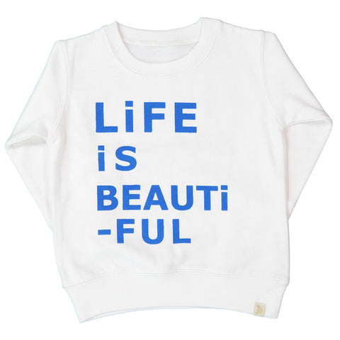 A-FLEECE LONG SLEEVE PULLOVER - LiFE iS BEAUTiFUL in Blue