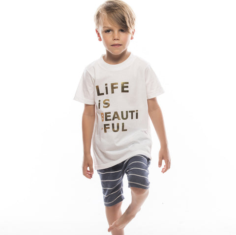 Crew Tee - LiFE iS BEAUTiFUL in Gold Foil
