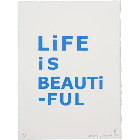 WALL ART - LiFE iS BEAUTiFUL in BLUE