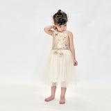 Papillons Dress in Beige/Gold