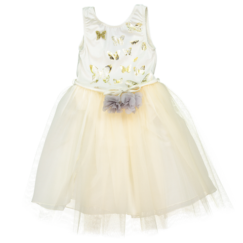 Papillons Dress in Ivory/Gold