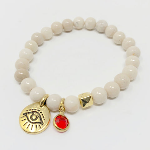 Evil Eye Bracelet - White Riverstone in Small