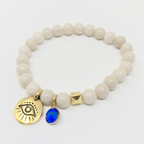 Evil Eye Bracelet - White Riverstone in Large