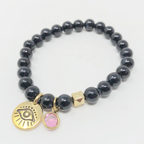 Evil Eye Bracelet - Black Riverstone in Large