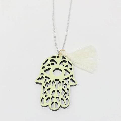 Hamsa Wooden Necklace - Yellow
