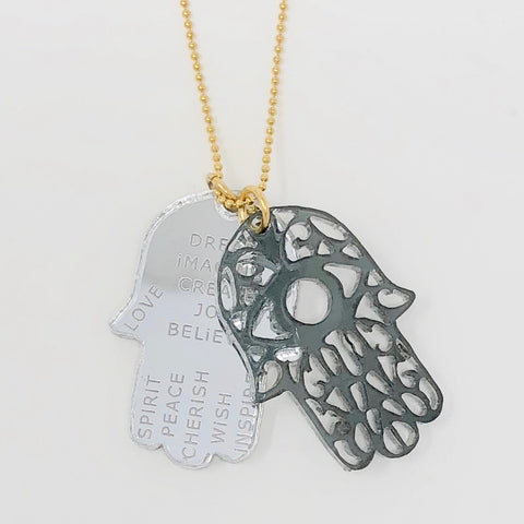 Hamsa Necklace - Gray