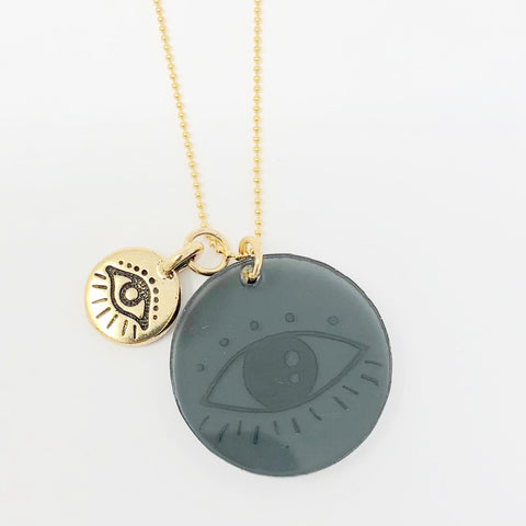 Evil Eyes Necklace - Gray