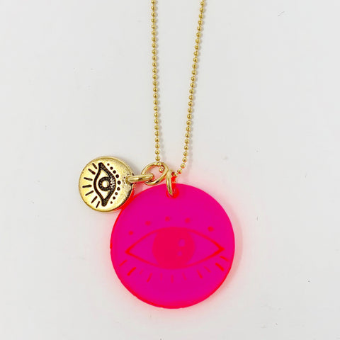 Evil Eyes Necklace - Pink