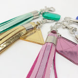 Leather Tassel Keychain with Birthstone Charm