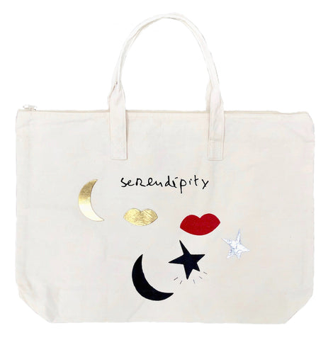Serendipity Canvas Bag with Zipper in Natural
