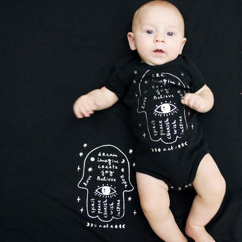 Hamsa Onesie & Blanket in Black