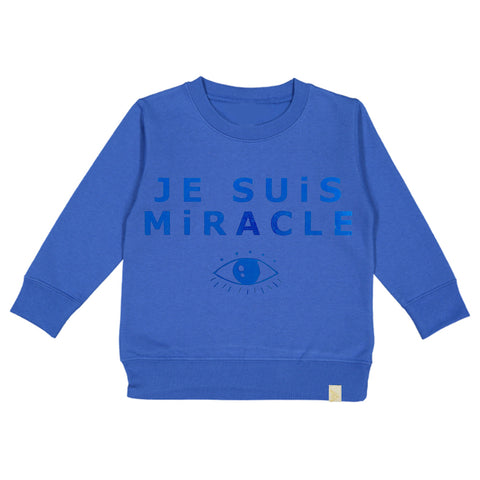 A-Je Suis Miracle Fleece Long Sleeve Pullover - Blue
