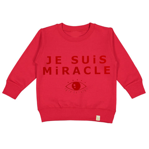 A-Je Suis Miracle Fleece Long Sleeve Pullover - Red