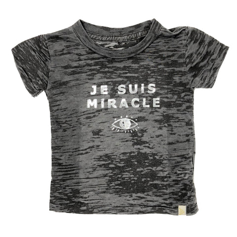 Je Suis Miracle Burnout Tee in silver foil