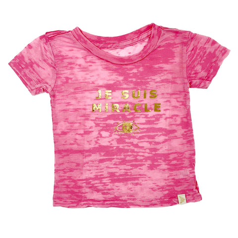 Je Suis Miracle Burnout Tee in gold foil