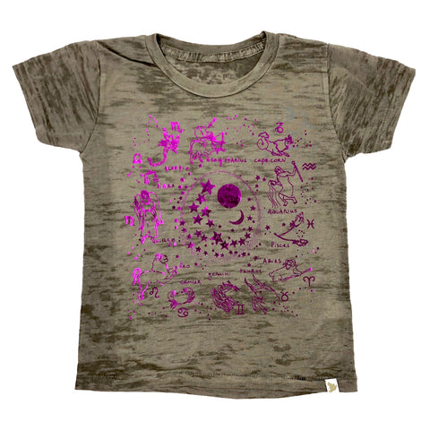 Zodiac Burnout Tee in Pink Foil