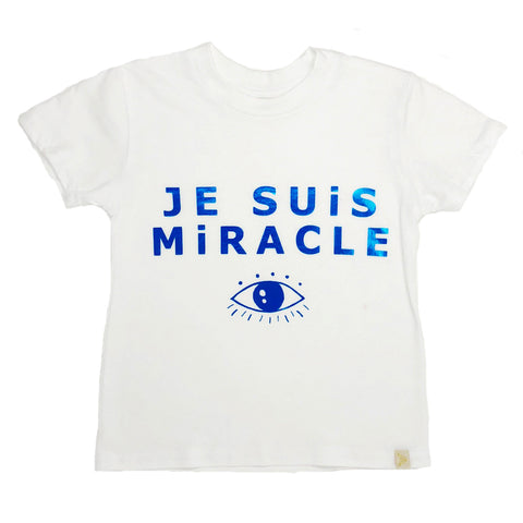Je Suis Miracle Crew Tee in Blue Foil