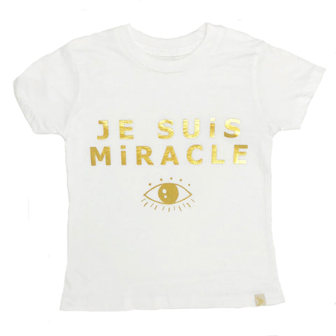 Je Suis Miracle Crew Tee in Gold Foil