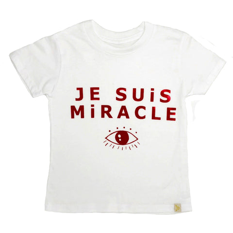 Je Suis Miracle Crew Tee in Red Foil