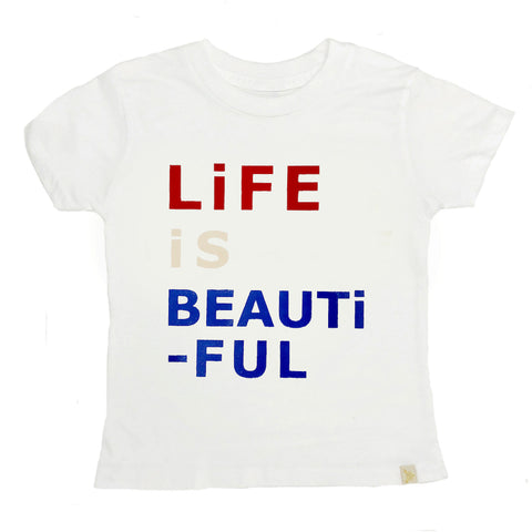 Crew Tee - Life is Beautiful in White