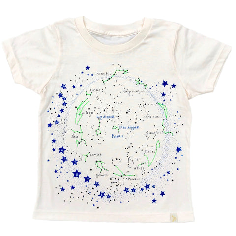 Crew Tee - Milky Way in Natural with Blue/Green