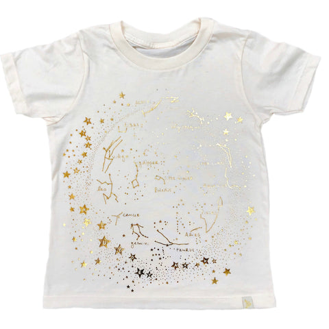Crew Tee - Milky Way in Natural with Gold Foil