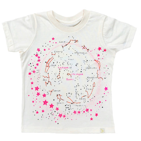 Crew Tee - Milky Way in Natural with Pink/Orange
