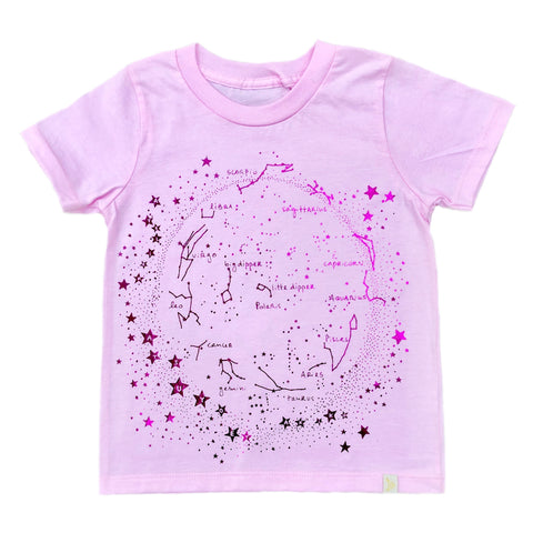 Crew Tee - Milky Way in Pink with Pink Foil
