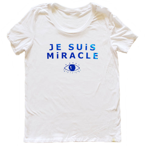 Je Suis Miracle Women's Crew Tee in Blue Foil