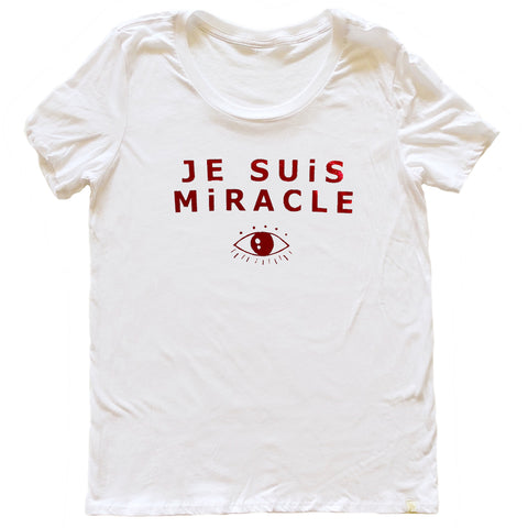 Je Suis Miracle Women's Crew Tee in Red Foil