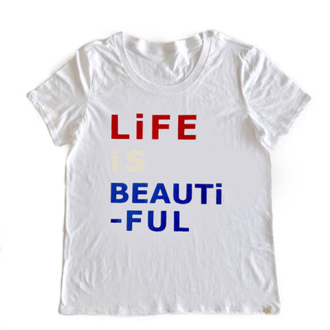 Life is Beautiful Women's Crew Tee in White