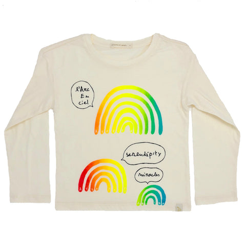 Lara Long Sleeve Tee - L'arc En Ciel in Cream