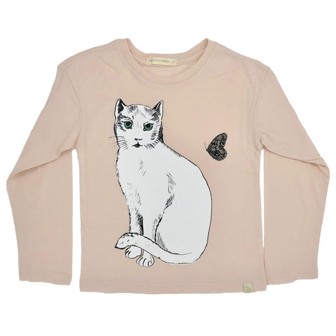 Lara Long Sleeve Tee - Chat Blanc in Peach