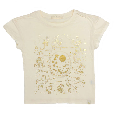 Lara Short Sleeve Tee - Zodiac in Cream