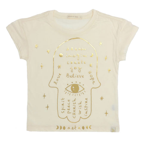 Lara Short Sleeve Tee - Hamsa in Cream