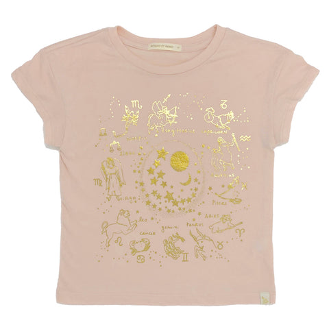 Lara Short Sleeve Tee - Zodiac in Peach