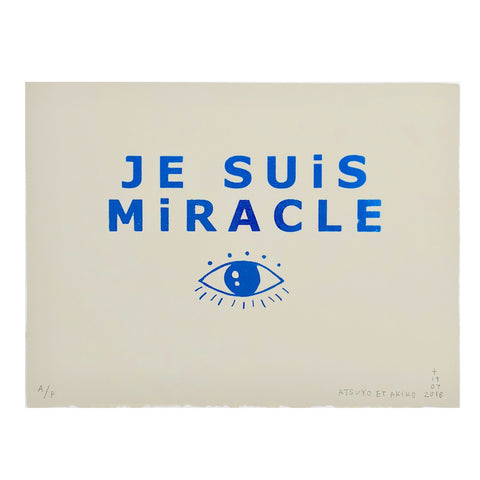 Je Suis Miracle Wall Art in Blue Foil