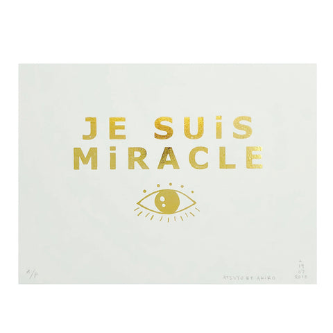 Je Suis Miracle Wall Art in Gold Foil