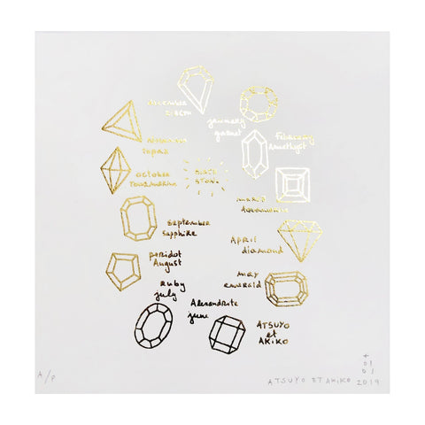 Birthstone Wall Art in Gold Foil