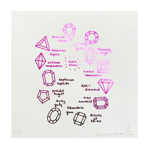 Birthstone Wall Art in Pink Foil