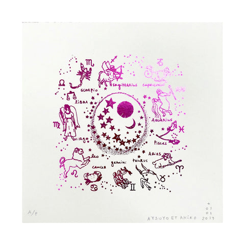 Zodiac Wall Art in Pink Foil