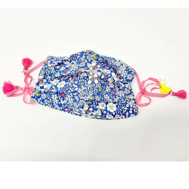 Cotton Double Layered Face Mask - Floral in Blue 1