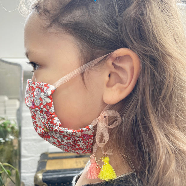 Cotton Double Layered Face Mask - Floral in Red 1