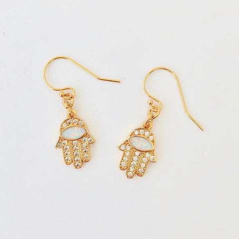Gold Filled Pierce - Opal Hamsa