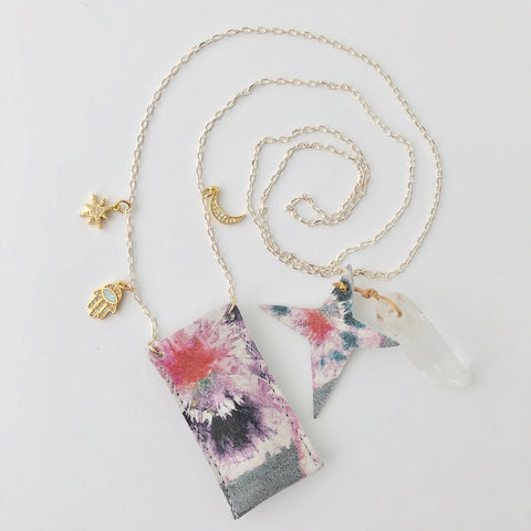 Amulet Crystal Necklace - Tie Dye Flower