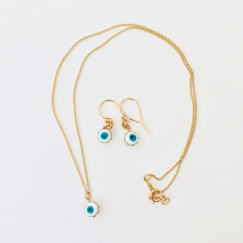 Gold Filled Chain Necklace + Pierce Set - Enamel Eye